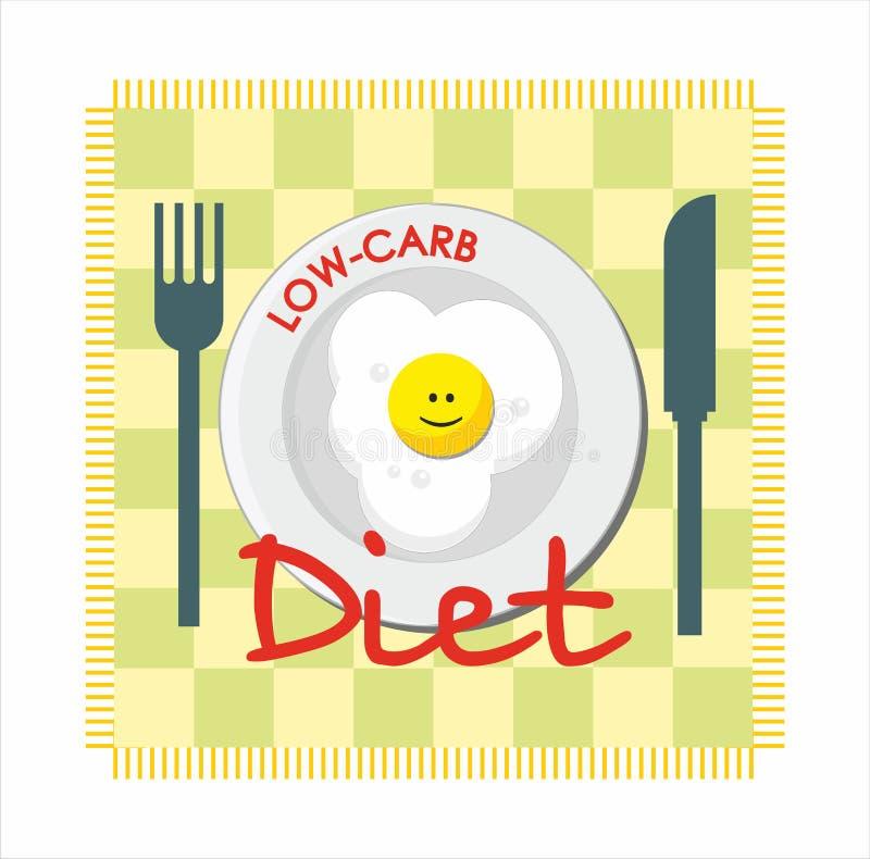 Διατροφή χαμηλός-εξαερωτήρων με το τηγανισμένο αυγό διανυσματική απεικόνιση