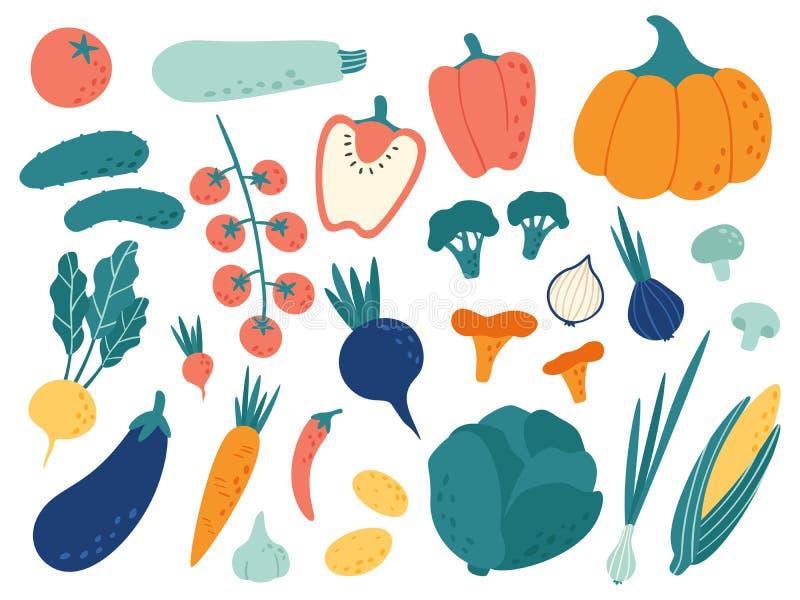 E Διατροφή Veggies doodle, οργανικά vegan τρόφιμα και φυτικό σύνολο απεικόνισης doodles διανυσματικό απεικόνιση αποθεμάτων