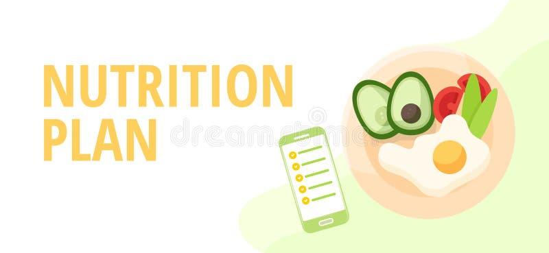 Διατροφολόγοι έννοιας διατροφής και διατροφής που προγραμματίζουν μια διατροφή που χρησιμοποιεί τρόφιμα διανυσματική απεικόνιση