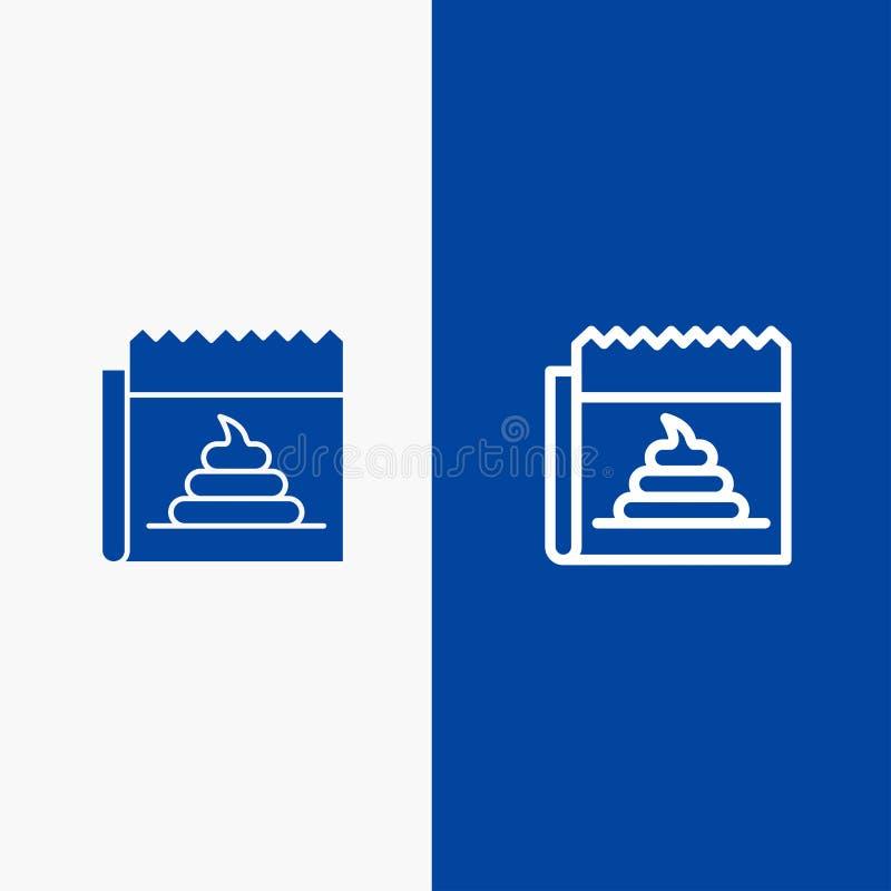 Διαφήμιση, απομίμηση, εξαπάτηση, δημοσιογραφία, γραμμή ειδήσεων και στερεά γραμμή εμβλημάτων εικονιδίων Glyph μπλε και στερεό μπλ ελεύθερη απεικόνιση δικαιώματος