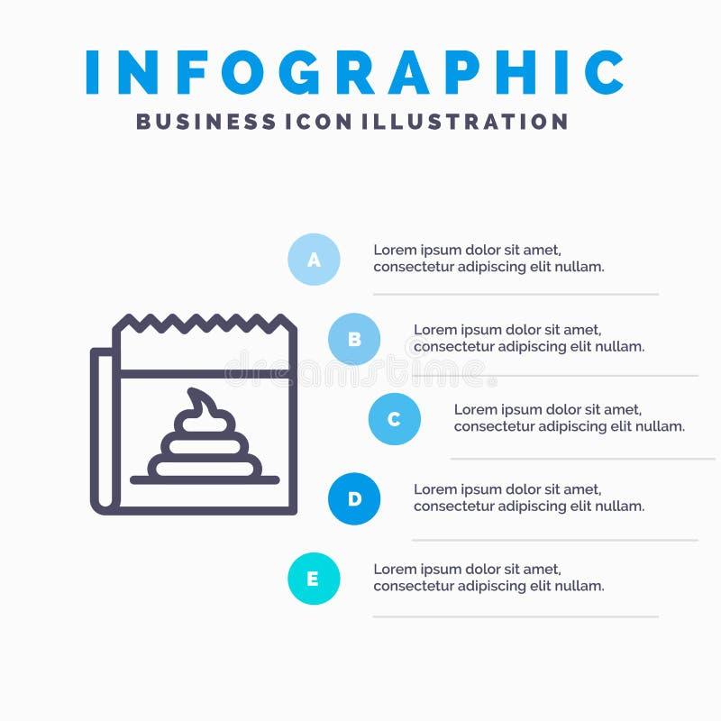 Διαφήμιση, απομίμηση, εξαπάτηση, δημοσιογραφία, εικονίδιο γραμμών ειδήσεων με το υπόβαθρο infographics παρουσίασης 5 βημάτων απεικόνιση αποθεμάτων