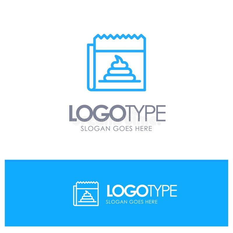 Διαφήμιση, απομίμηση, εξαπάτηση, δημοσιογραφία, μπλε λογότυπο περιλήψεων ειδήσεων με τη θέση για το tagline απεικόνιση αποθεμάτων