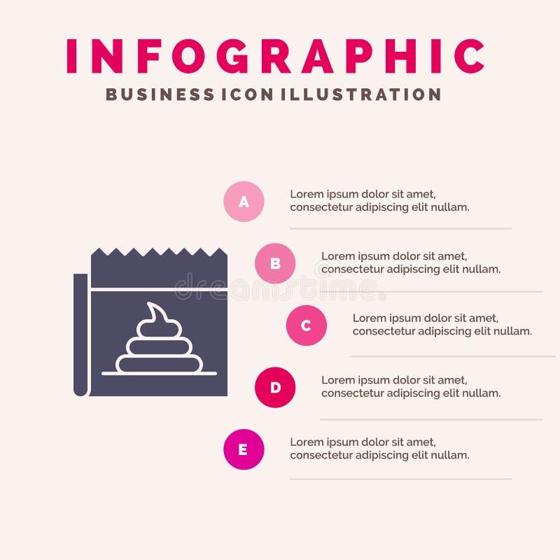 Διαφήμιση, απομίμηση, εξαπάτηση, δημοσιογραφία, στερεό εικονίδιο Infographics 5 ειδήσεων υπόβαθρο παρουσίασης βημάτων ελεύθερη απεικόνιση δικαιώματος