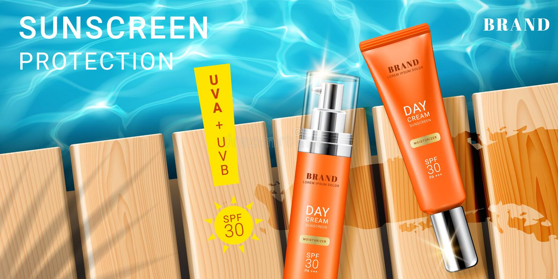 Διαφήμιση για sunscreen την κρέμα και τον ψεκασμό διανυσματική απεικόνιση
