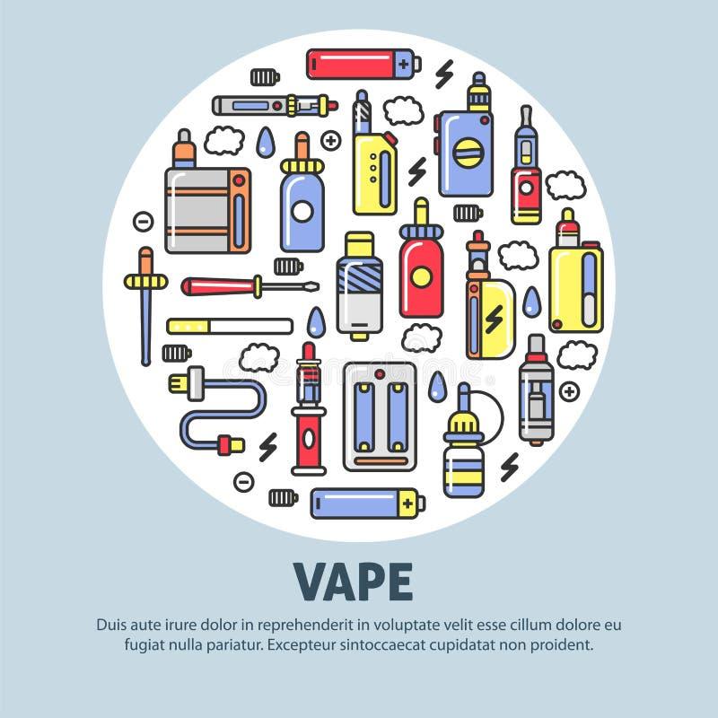 Διαφήμιση καταστημάτων Vape με τις σύγχρονες συσκευές για απεικόνιση αποθεμάτων