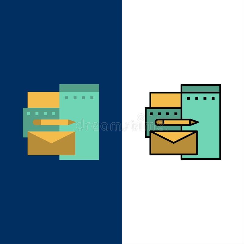 Διαφήμιση, μαρκάρισμα, ταυτότητα, εταιρικά εικονίδια Επίπεδος και γραμμή γέμισε το καθορισμένο διανυσματικό μπλε υπόβαθρο εικονιδ διανυσματική απεικόνιση