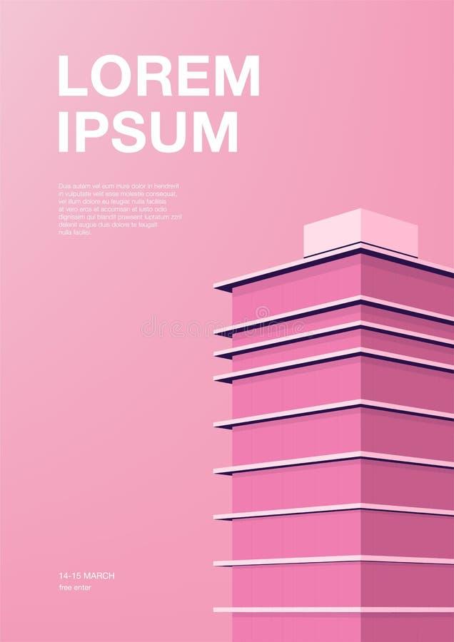Διαφήμιση της αφίσας με την αφηρημένη αρχιτεκτονική Ρόδινο υπόβαθρο με τον ουρανοξύστη Κάθετη αφίσσα με τη θέση για το κείμενο διανυσματική απεικόνιση