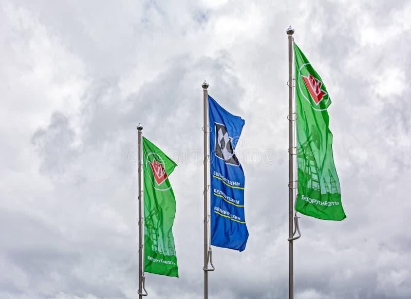 Διαφήμιση των σημαιών της της Λευκορωσίας κρατικής ανησυχίας για το πετρέλαιο και τη χημεία στοκ φωτογραφία με δικαίωμα ελεύθερης χρήσης