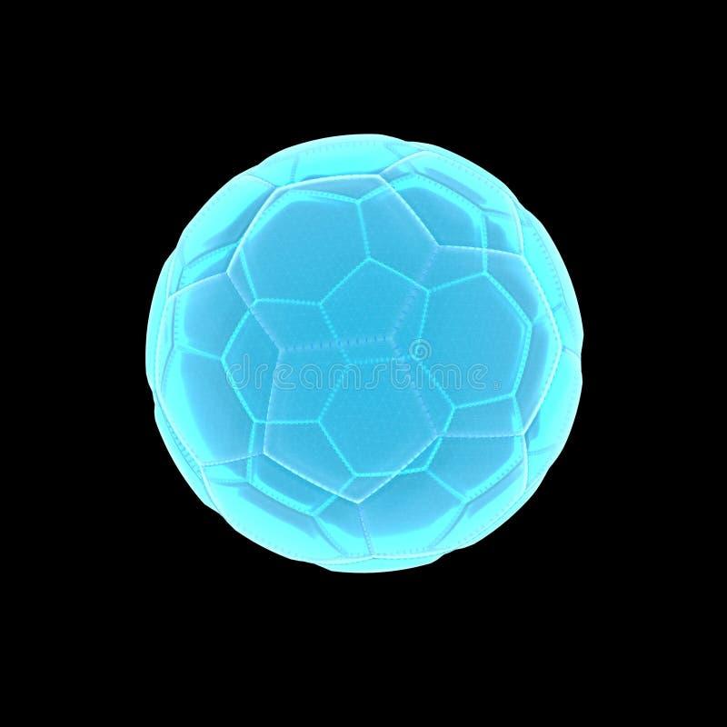 Διαφανές ανοικτό μπλε των ακτίνων X ποδόσφαιρο στην τρισδιάστατη απόδοση απεικόνιση αποθεμάτων