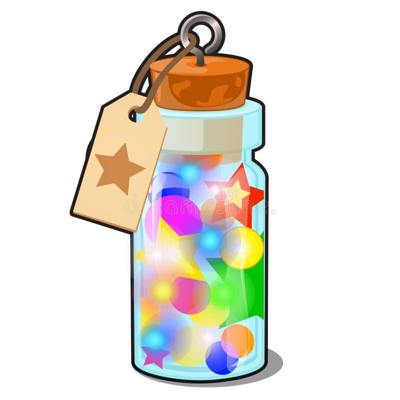 Διαφανές μπουκάλι γυαλιού με τις πολύχρωμες διακοσμήσεις Χριστουγέννων που απομονώνονται στο άσπρο υπόβαθρο Δείγμα της αφίσας, κό διανυσματική απεικόνιση