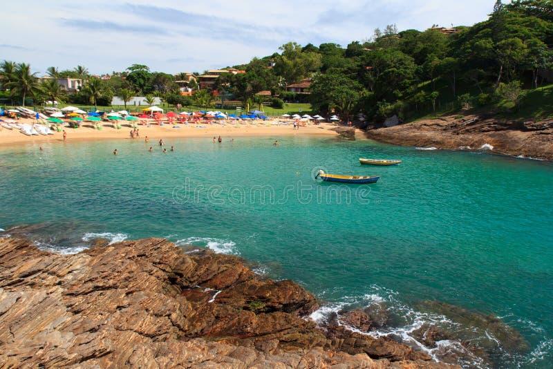 Διαφανές νερό της παραλίας Ferradurinha σε Búzios, Βραζιλία στοκ φωτογραφία με δικαίωμα ελεύθερης χρήσης