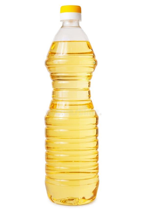 Διαφανές πλαστικό μπουκάλι του φυτικού ελαίου στοκ εικόνες