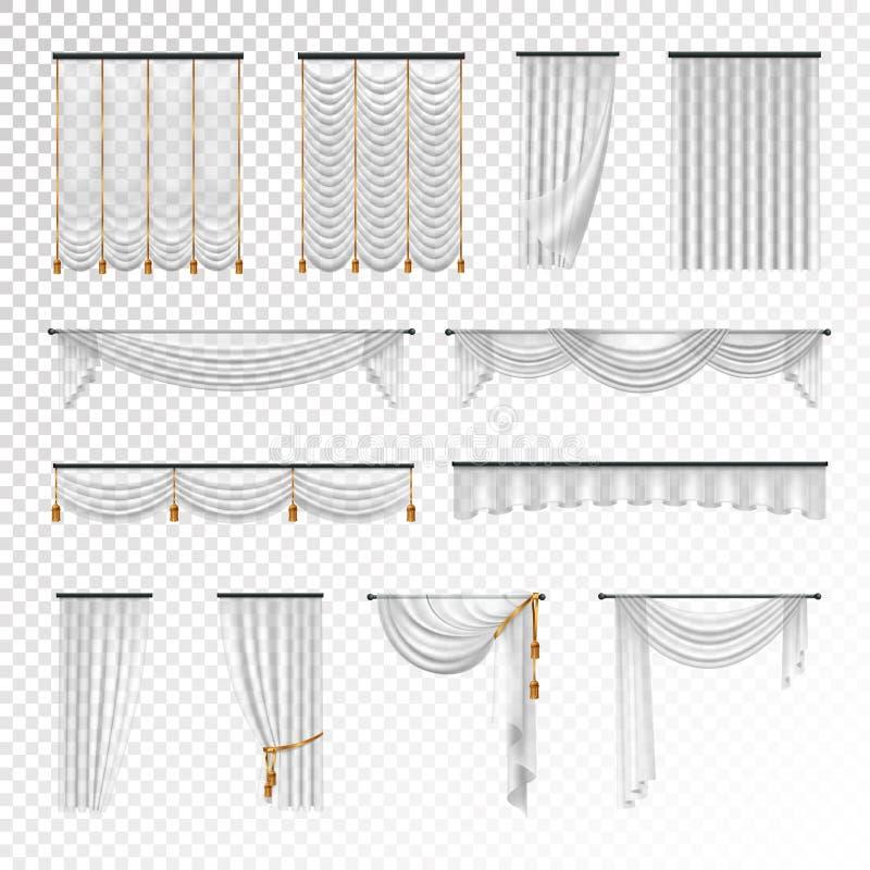 Διαφανές ρεαλιστικό καθορισμένο υπόβαθρο υφασματεμποριών κουρτινών απεικόνιση αποθεμάτων