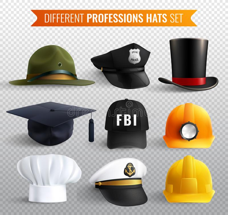 Διαφανές σύνολο καπέλων επαγγελμάτων ελεύθερη απεικόνιση δικαιώματος