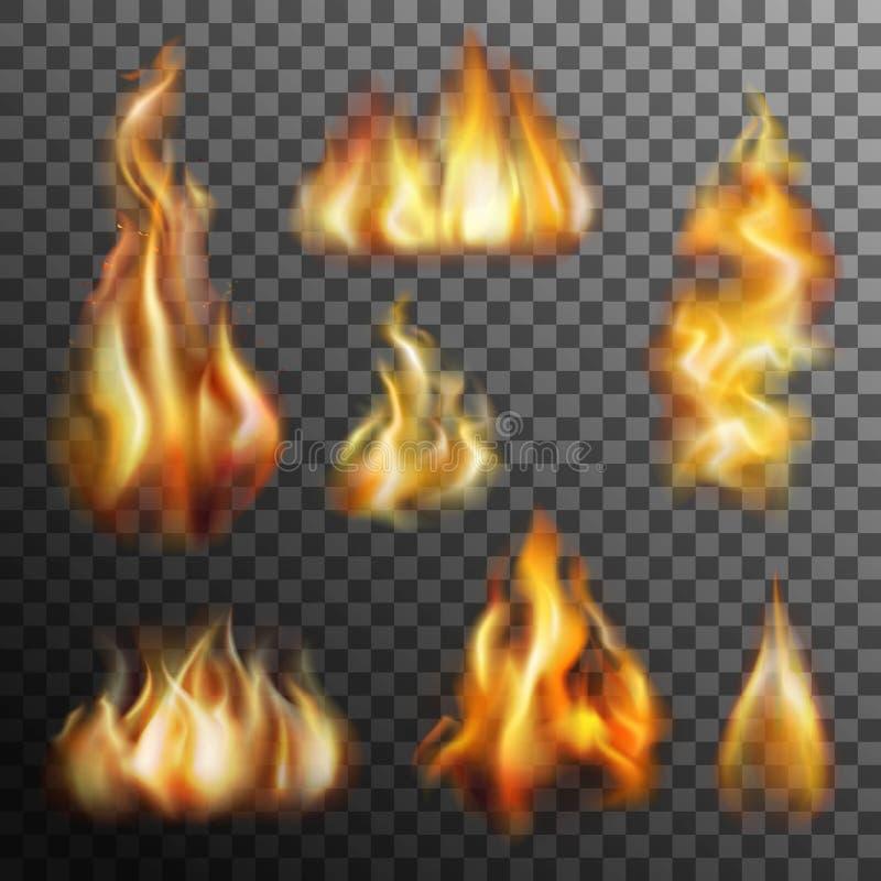 Διαφανές σύνολο πυρκαγιάς διανυσματική απεικόνιση