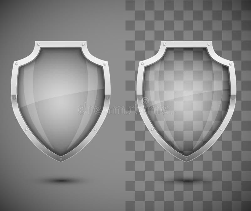 Διαφανής ασπίδα γυαλιού απεικόνιση αποθεμάτων