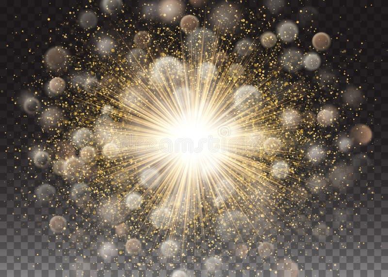 Διαφανής ελαφριά επίδραση πυράκτωσης Έκρηξη αστεριών με τα σπινθηρίσματα ακτινοβολήστε χρυσός αφηρημένο διάνυσμα ανασκόπ& Σχέδιο  διανυσματική απεικόνιση