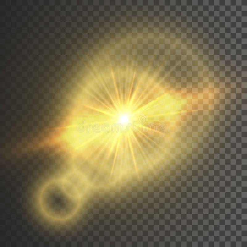 Διαφανής ελαφριά επίδραση πυράκτωσης Έκρηξη αστεριών με τα σπινθηρίσματα ακτινοβολήστε χρυσός επίσης corel σύρετε το διάνυσμα απε απεικόνιση αποθεμάτων