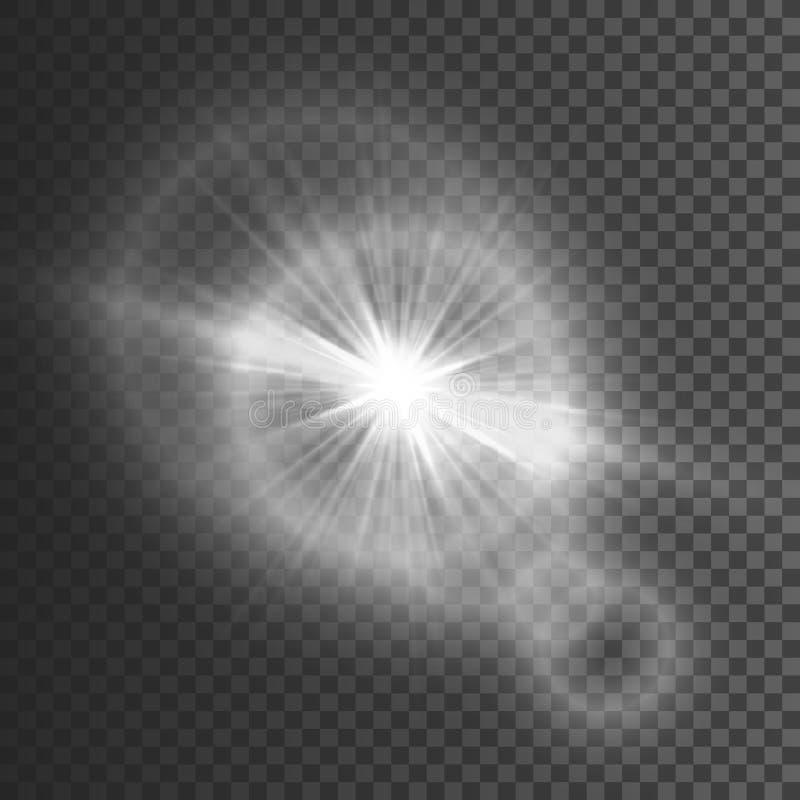 Διαφανής ελαφριά επίδραση πυράκτωσης Έκρηξη αστεριών με τα σπινθηρίσματα ακτινοβολήστε λευκό επίσης corel σύρετε το διάνυσμα απει διανυσματική απεικόνιση