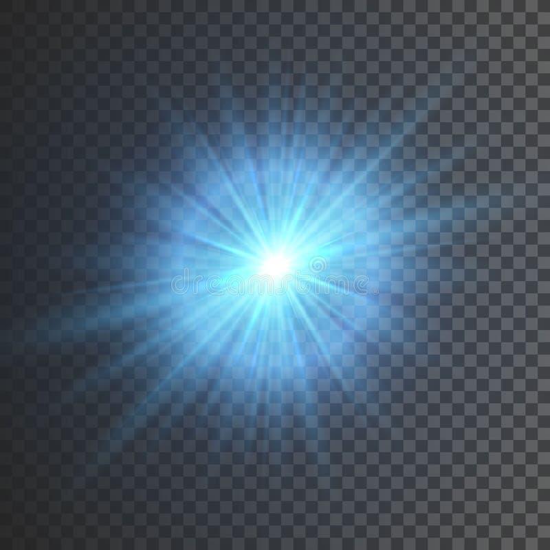 Διαφανής ελαφριά επίδραση πυράκτωσης Έκρηξη αστεριών με τα σπινθηρίσματα Το μπλε ακτινοβολεί επίσης corel σύρετε το διάνυσμα απει ελεύθερη απεικόνιση δικαιώματος