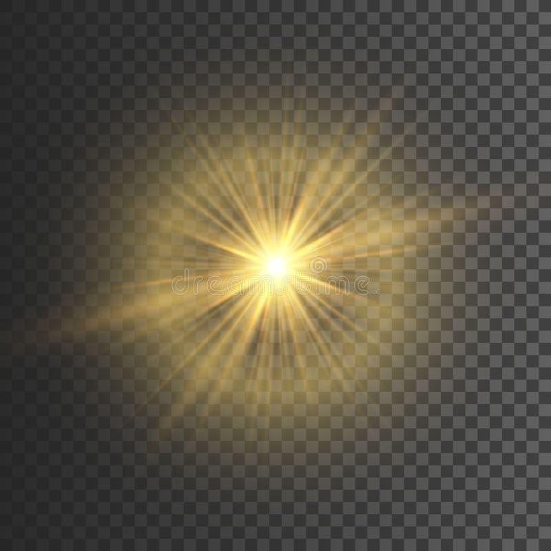 Διαφανής ελαφριά επίδραση πυράκτωσης Έκρηξη αστεριών με τα σπινθηρίσματα ακτινοβολήστε χρυσός επίσης corel σύρετε το διάνυσμα απε διανυσματική απεικόνιση