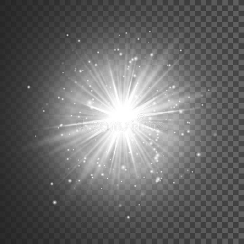 Διαφανής ελαφριά επίδραση πυράκτωσης Έκρηξη αστεριών με τα σπινθηρίσματα ακτινοβολήστε λευκό επίσης corel σύρετε το διάνυσμα απει απεικόνιση αποθεμάτων