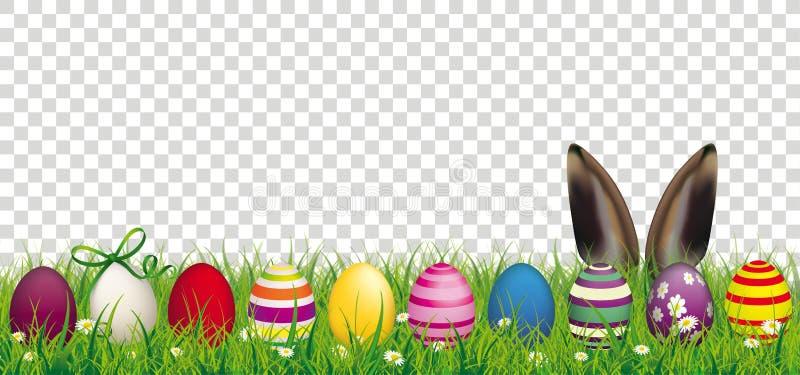 Διαφανής επιγραφή χλόης αυτιών λαγουδάκι αυγών Πάσχας απεικόνιση αποθεμάτων