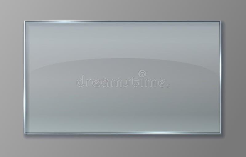 Διαφανής επιτροπή γυαλιού Σαφές πλαστικό φύλλο με τη στιλπνή επίδραση, απομονωμένο ακρυλικό πιάτο εμβλημάτων Διανυσματικό διαφανέ διανυσματική απεικόνιση