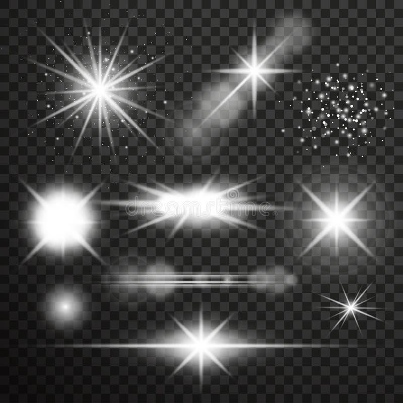 Διαφανής ελαφριά επίδραση πυράκτωσης Έκρηξη αστεριών με τα σπινθηρίσματα