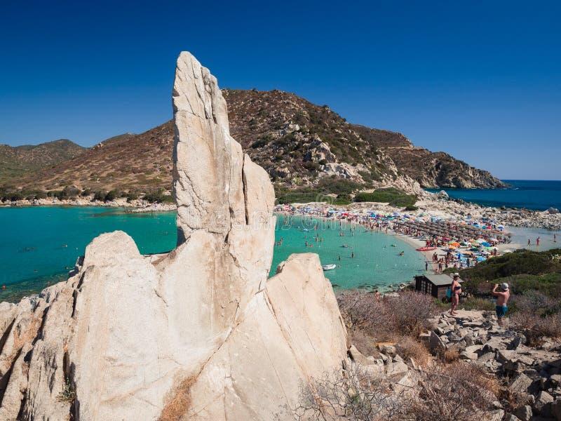 Διαφανής και τυρκουάζ θάλασσα σε Punta Molentis, Villasimius στοκ εικόνες με δικαίωμα ελεύθερης χρήσης