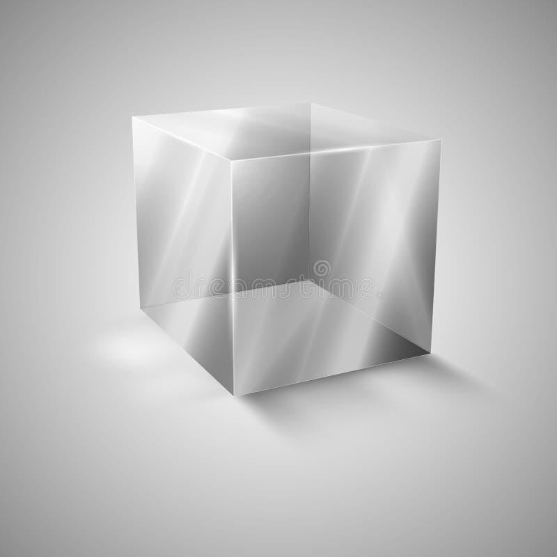Διαφανής κύβος γυαλιού Παρουσίαση ενός νέου προϊόντος Ρεαλιστικό τρισδιάστατο σχέδιο απεικόνιση αποθεμάτων