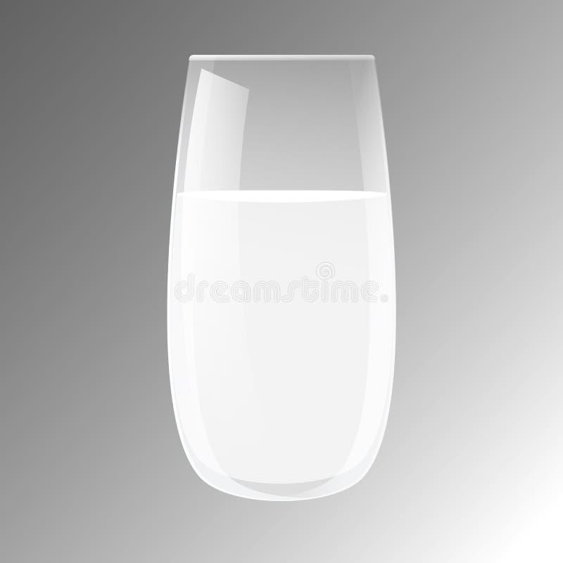 Διαφανής ρεαλιστική κούπα γυαλιού με το υγρό, νερό, γάλα, λεμονάδα, χυμός ελεύθερη απεικόνιση δικαιώματος