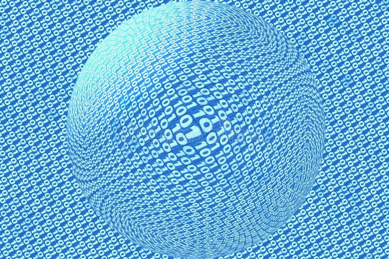 Διαφανής σφαίρα στο μπλε υπόβαθρο δυαδικού κώδικα διανυσματική απεικόνιση