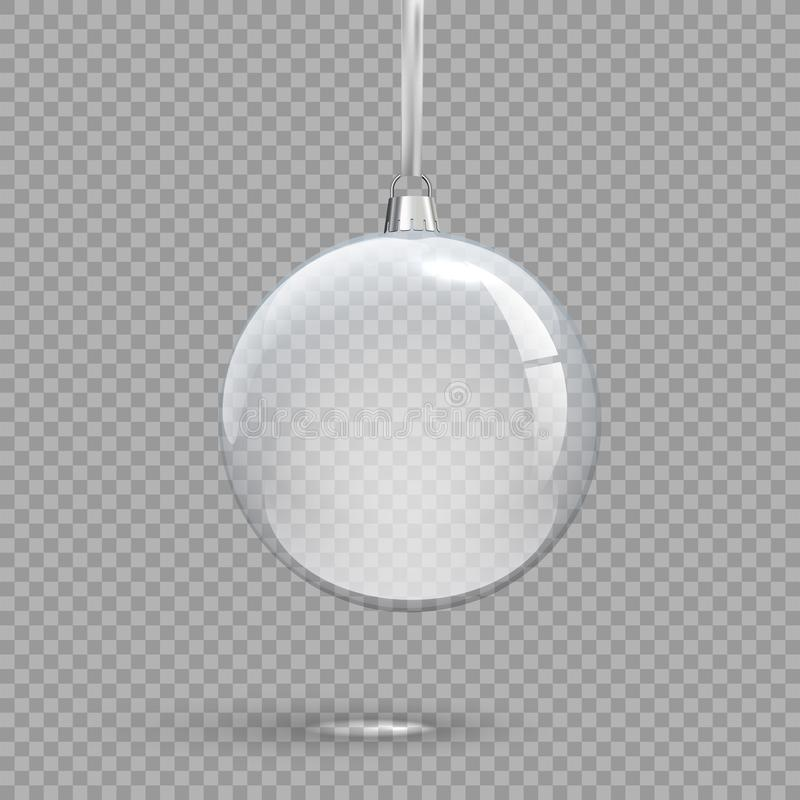 Διαφανής σφαίρα Χριστουγέννων που απομονώνεται στο διαφανές υπόβαθρο Διανυσματικό στοιχείο σχεδίου διακοπών διανυσματική απεικόνιση