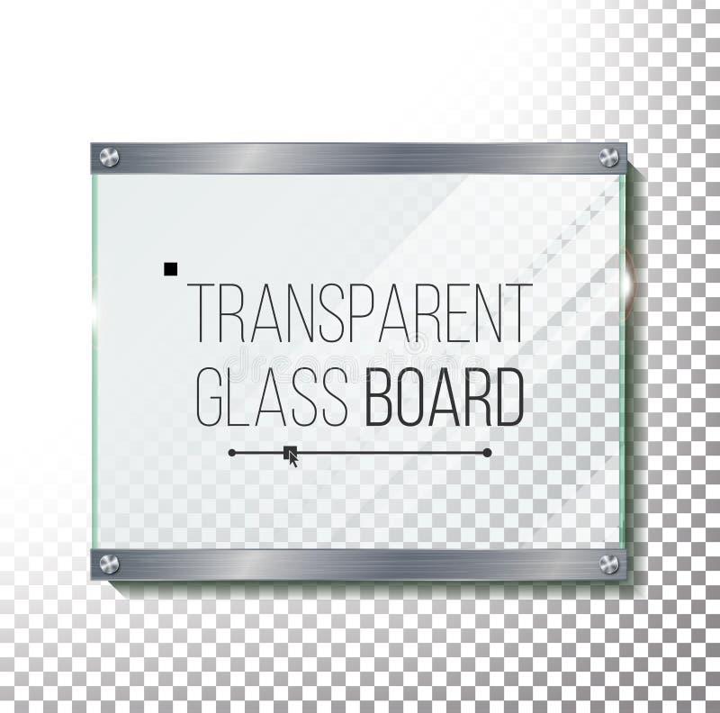 Διαφανής χλεύη πιάτων γυαλιού επάνω στο διάνυσμα Πλαστική στιλπνή επιτροπή με την αντανάκλαση, σκιά Ρεαλιστικό πλαίσιο με τα καρφ ελεύθερη απεικόνιση δικαιώματος