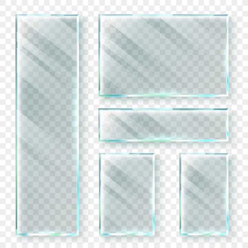 Διαφανή εμβλήματα γυαλιού τρισδιάστατο γυαλί παραθύρων ή πλαστικό έμβλημα Ρεαλιστικό διανυσματικό σύνολο απεικόνισης διανυσματική απεικόνιση