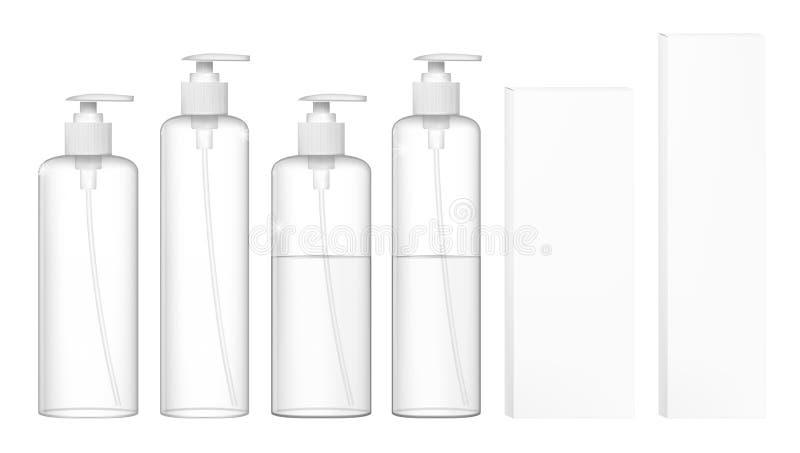 Διαφανή καλλυντικά πλαστικά μπουκάλια με την αντλία διανομέων Υγρό εμπορευματοκιβώτιο για το πήκτωμα, λοσιόν, κρέμα, σαμπουάν διανυσματική απεικόνιση