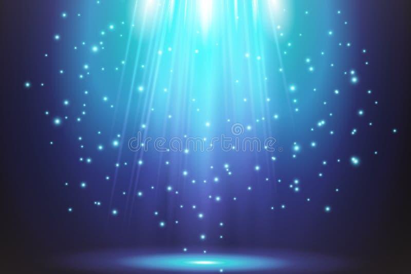 Διαφανή μπλε ligthy αποτελέσματα σε ένα σκοτεινό υπόβαθρο Επίκεντρα, φλόγα, έκρηξη και αστέρια διάνυσμα διανυσματική απεικόνιση