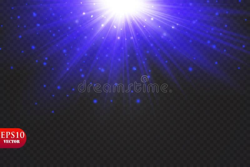 Διαφανή μπλε ligthy αποτελέσματα σε ένα σκοτεινό υπόβαθρο Επίκεντρα, φλόγα, έκρηξη και αστέρια διάνυσμα απεικόνιση αποθεμάτων