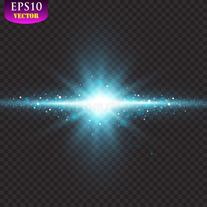 Διαφανή μπλε ligthy αποτελέσματα σε ένα σκοτεινό υπόβαθρο Επίκεντρα, φλόγα, έκρηξη και αστέρια διάνυσμα ελεύθερη απεικόνιση δικαιώματος