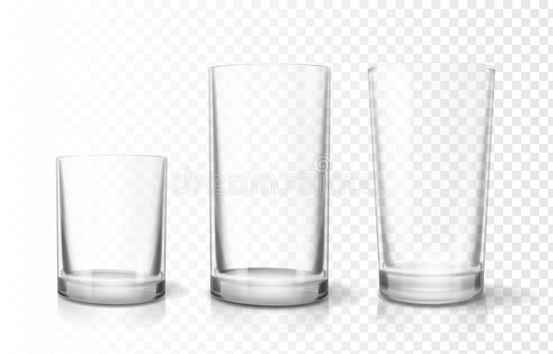 Διαφανή goblets γυαλιών καθορισμένα, διανυσματικό εικονίδιο Relistic διανυσματική απεικόνιση