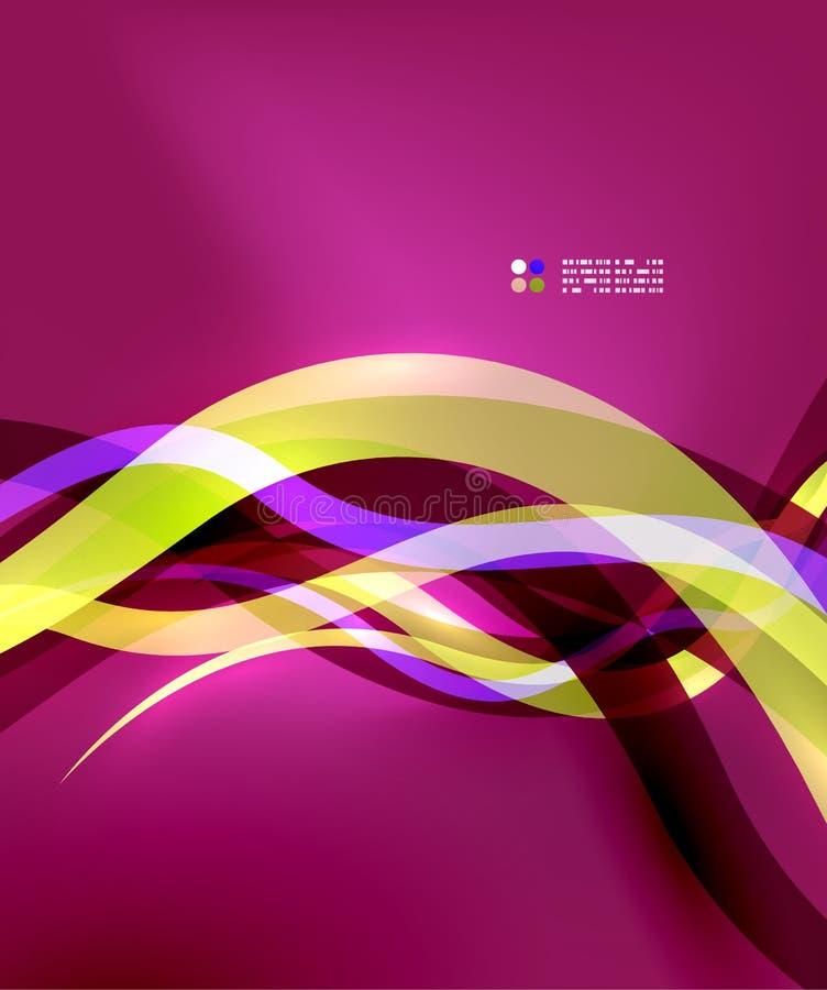 Διαφανείς ζωηρόχρωμες γραμμές κυμάτων με τα ελαφριά αποτελέσματα διανυσματική απεικόνιση