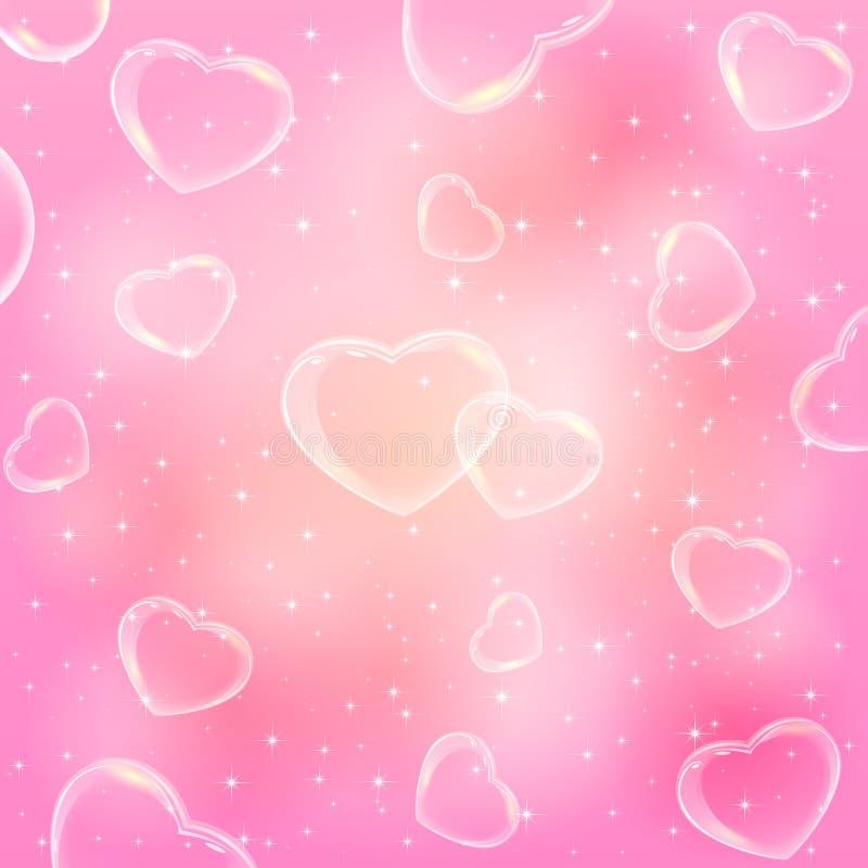 Διαφανείς καρδιές στο ρόδινο υπόβαθρο ελεύθερη απεικόνιση δικαιώματος