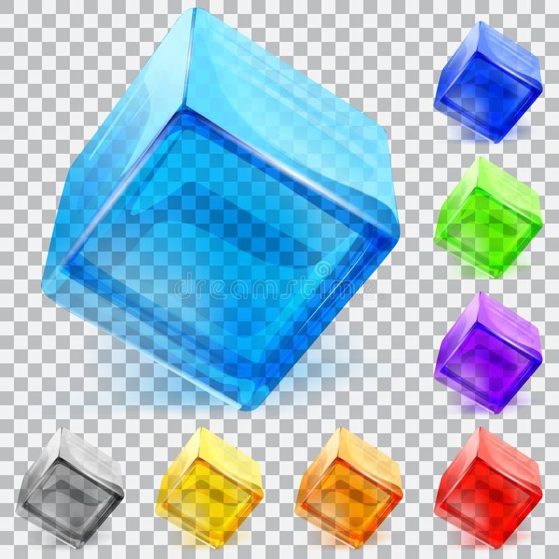 Διαφανείς κύβοι γυαλιού διανυσματική απεικόνιση