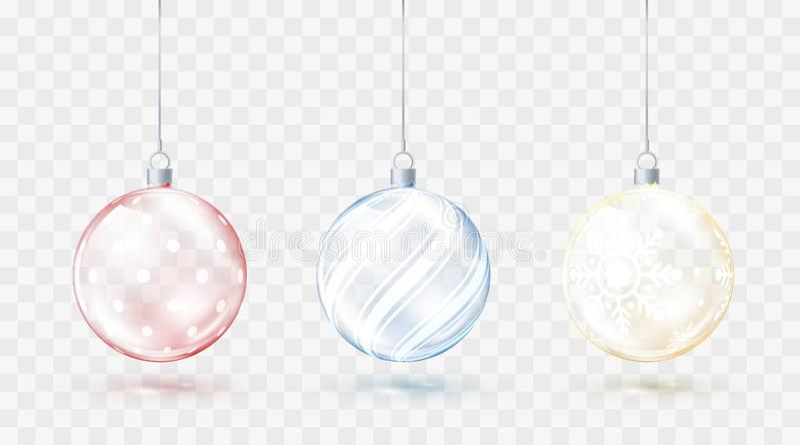 Διαφανείς σφαίρες Χριστουγέννων γυαλιού Διακοσμήσεις Χριστουγέννων στοιχείων Λαμπρά ζωηρόχρωμα παιχνίδια με τη χρυσή κόκκινη και  απεικόνιση αποθεμάτων