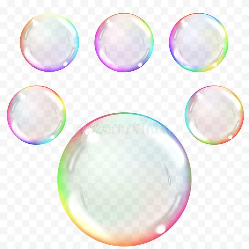 Διαφανείς φυσαλίδες σαπουνιών διανυσματική απεικόνιση