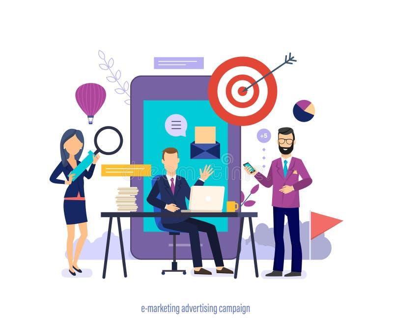 Διαφημιστική καμπάνια ε-μάρκετινγκ Προώθηση στα κοινωνικά δίκτυα, μέσα, κινητό μάρκετινγκ διανυσματική απεικόνιση