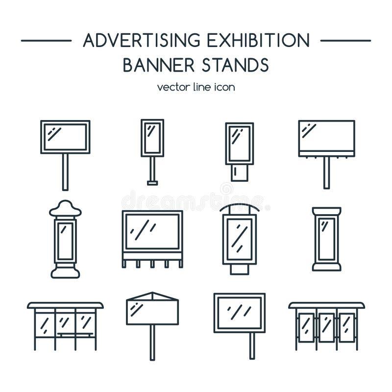 Διαφημιστικοί πίνακες διαφημίσεων και επίδειξη εμβλημάτων, στάσεις έκθεσης διανυσματική απεικόνιση