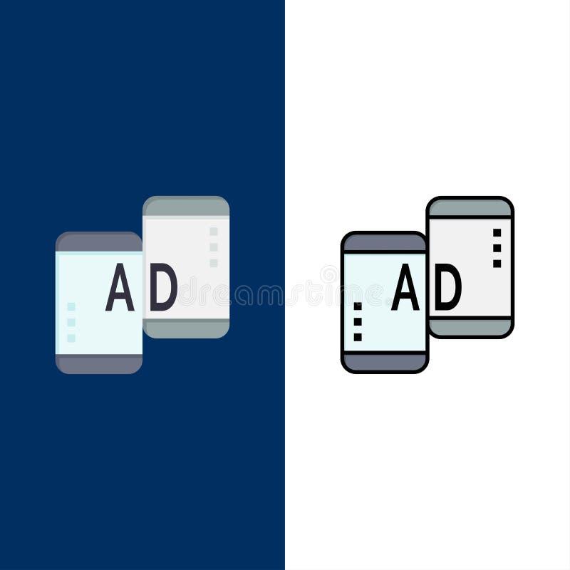 Διαφημιστικός, κινητή, κινητή διαφήμιση, εικονίδια μάρκετινγκ Επίπεδος και γραμμή γέμισε το καθορισμένο διανυσματικό μπλε υπόβαθρ απεικόνιση αποθεμάτων
