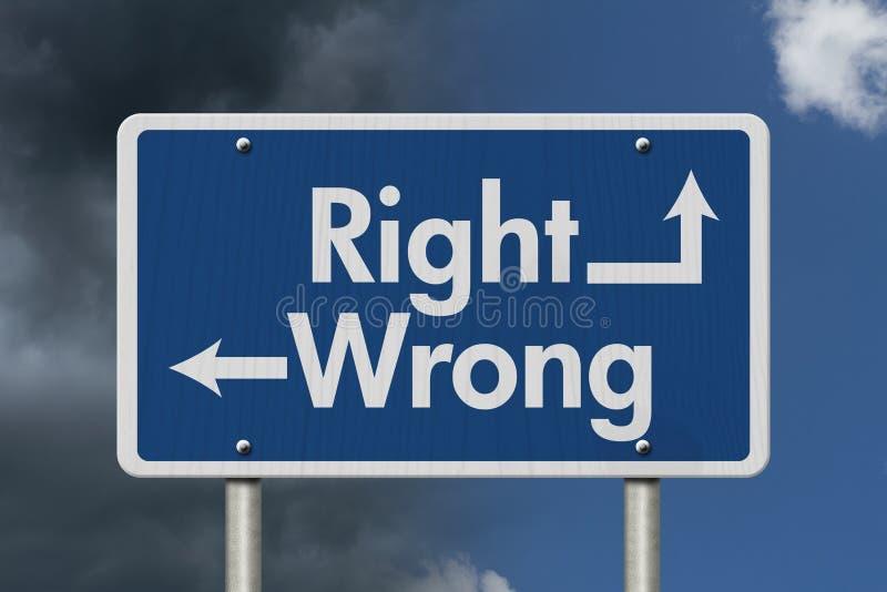 Διαφορά μεταξύ σωστός και λανθασμένος στοκ φωτογραφία με δικαίωμα ελεύθερης χρήσης